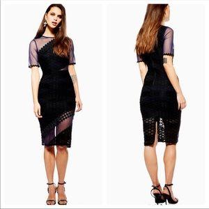 Topshop Mesh Honeycomb Airtex Midi Dress Size 6